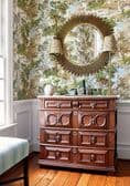 Thibaut Lincoln Toile Wallpaper in Blue and Flax